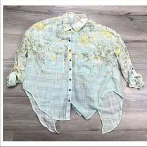 Free People Top Blouse Button Up Floral XS